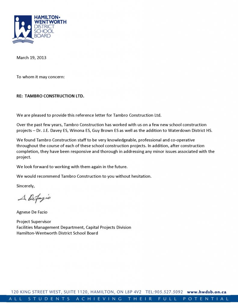 Hamilton Wentworth District School Board  Reference Letter